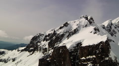 Aerial - Mountain Top Mt Baker Mountain Peaks Snowy Sunny Day Stock Footage