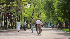 Alley in the park. Passers Stock Footage