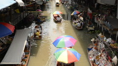 Famous Thailand Floating Market Stock Footage
