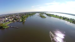 Aerial view of Lachine Canal, St Lawrence River and marina in Montreal Stock Footage