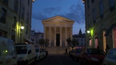 The Square house Structures Roman in Nîmes France Stock Footage