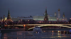 Moscow. Kremlin. Big Stone Bridge. Winter. Night Stock Footage