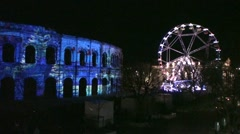 Stock Video Footage of Arenas with Christmas Structure Roman in Nîmes France