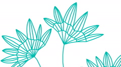 Stock Video Footage of Hand drawn flowers moving in the wind, Seamless loop animation