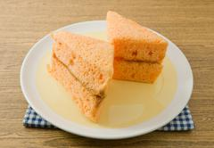 Snack and Dessert, Orage Chiffon Cake Made With Butter, Eggs, Sugar, Flour, B Stock Photos
