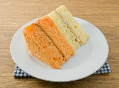 Snack and Dessert, Vanilla and Orage Chiffon Cake Made With Butter, Eggs, Sug Stock Photos