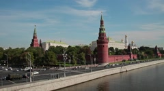 Moscow. View of the Kremlin from the Great Stone Bridge. Stock Footage