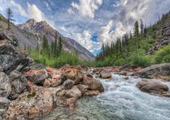 Mountain River in East Siberia - stock photo