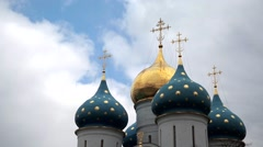 Dome of the Orthodox Church against the sky. Rapid Stock Footage