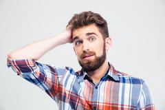 Portrait of amazed man looking at camera Stock Photos