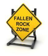 Road sign - fallen rock zone - stock illustration
