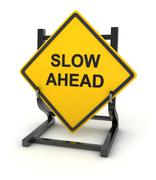 Road sign - slow ahead Stock Illustration
