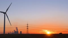 Wind energy turbine and power station Stock Footage