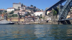 Porto Portugal August 2015. Douro river. Dom Luis I Bridge and in front of th Stock Footage