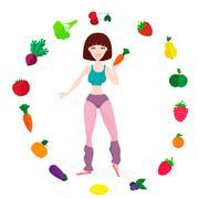 Slim athletic girl, fresh vegetables and fruits, proper lifes - stock illustration