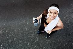 Happy sportswoman Stock Photos