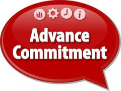Advance Commitment Business term speech bubble illustration Stock Illustration