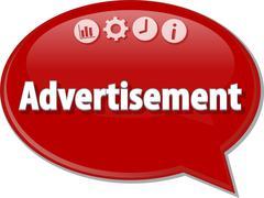 Advertisement Business term speech bubble illustration - stock illustration