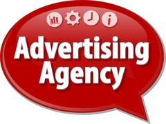 Advertising Agency Business term speech bubble illustration - stock illustration
