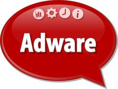 Adware Business term speech bubble illustration - stock illustration