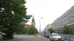 Street view of Marienkirche in Berlin Stock Footage