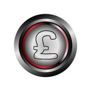 Pound circle web glossy icon button vector Stock Illustration