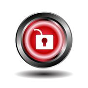 Stock Illustration of Unlock Circular Red Vector Web Button Icon