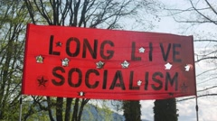 May Day - Social Demonstration  - 01 - Red Banner Stock Footage