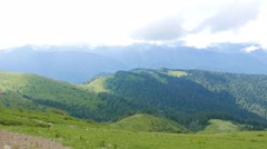 Summer mountain landscape. Ridge Aibga. Sochi, Russia. 1280x720 - stock footage