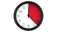 Animated clock with a red time interval Stock Footage
