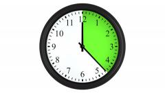 Animated clock with a green time interval Stock Footage