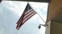 American Flag next to Surveillance Camera, 4K - stock footage