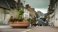 Flea market in a little village in Normandy, France Stock Footage