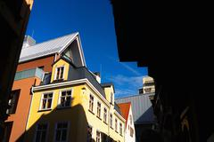 The geometry of the buildings of light and shadow in the old city of Riga Stock Photos