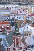 Stock Photo of The spire of the synagogue in the old town of Riga in winter