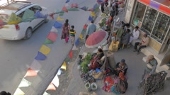 Jewelry and vegetable street sellers,Leh,Ladakh,India Stock Footage