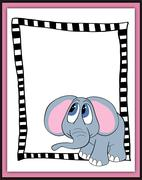 Beautiful card with cartoon elephant Stock Illustration
