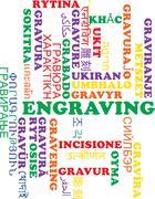 Engraving multilanguage wordcloud background concept - stock illustration