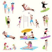 People On Beach Icons - stock illustration