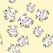 Seamless cow pattern with drop shadow on yellow - stock illustration