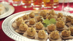 Snack on the rusks on a banquet in catering Stock Footage