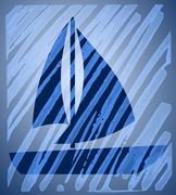 Abstract background with sailing boat motif Stock Illustration