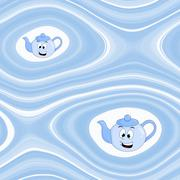Abstract background with cartoon kettle in blue - stock illustration