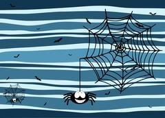 Halloween stripey background with smiling spider, cobweb and bats Stock Illustration