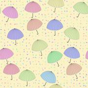 Decorated background with pastel colored umbrellas - stock illustration