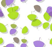 Seamless pattern with stack of scattered colored parasols Stock Illustration