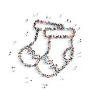people in the shape of a sock, christmas - stock illustration
