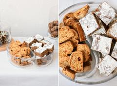 Homemade cookies and brownie Stock Photos