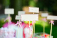 Empty blank card and for example guest names or dishes in wedding - stock photo