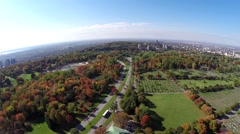 Aerial view over Mt Royal Park and Cemetery in Montreal - stock footage